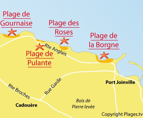 Map of Pulante Beach - Ile d'Yeu