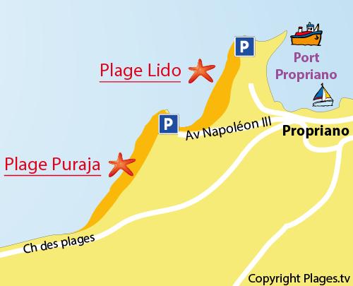 Plan de la plage de Puraja à Propriano