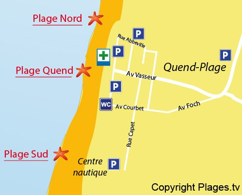 Map of Quend Beach in France