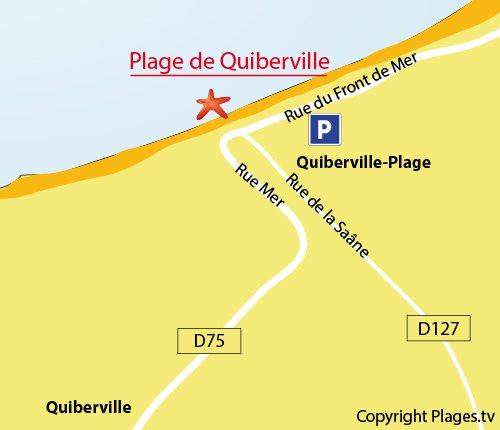 Map of Central beach in Quiberville