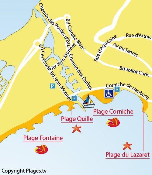 Carte de la plage des Quilles à Sète