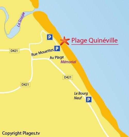 Carte de la plage de Quinéville