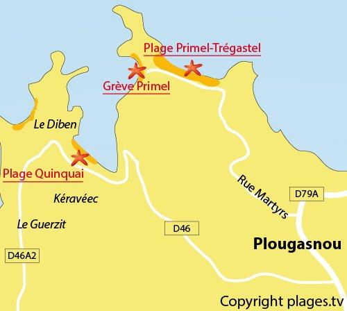 Carte de la plage de Quinquai de Plougasnou
