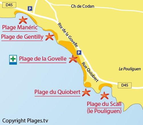 Map of Quiobert Beach in Batz sur Mer