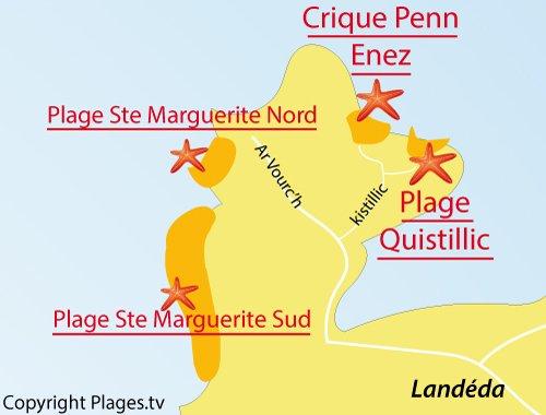 Carte de la plage de Quistillic à Landéda