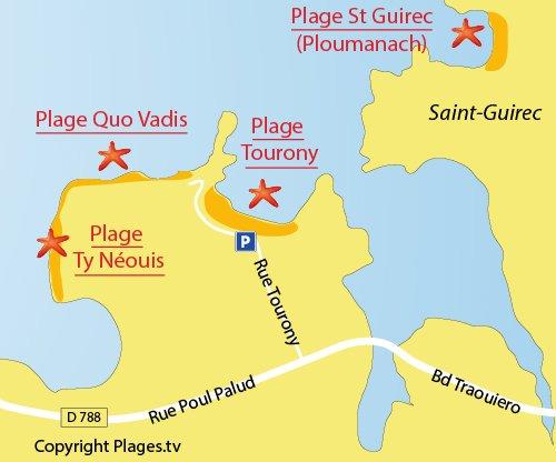 Carte de la plage de Quo Vadis à Trégastel