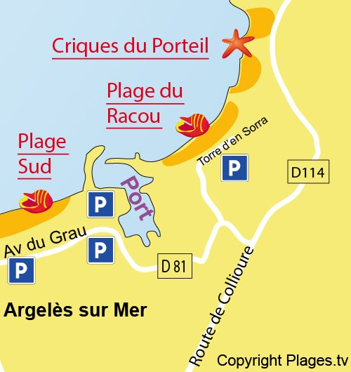 Map of Racou Beach in Argelès sur Mer