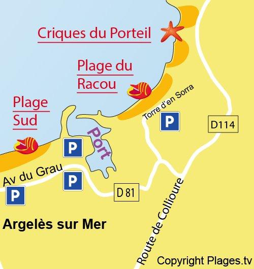 Carte de la plage du Racou à Argelès sur Mer