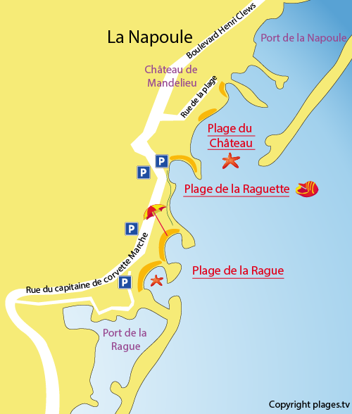 Carte de la plage de la Rague à Mandelieu