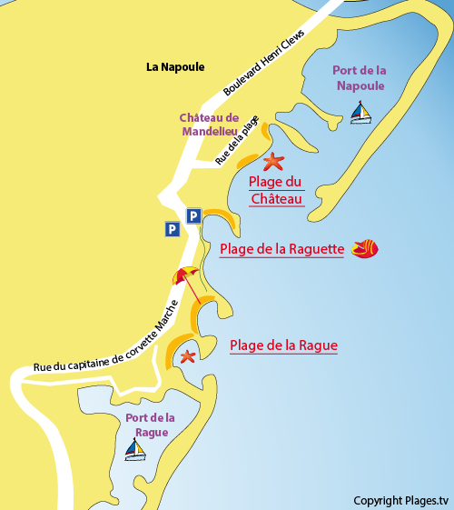 Map of Raguette Beach in Mandelieu
