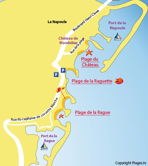 Carte de la plage de la Raguette à Mandelieu