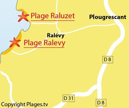 Carte d'accès à la Grève de Raluzet