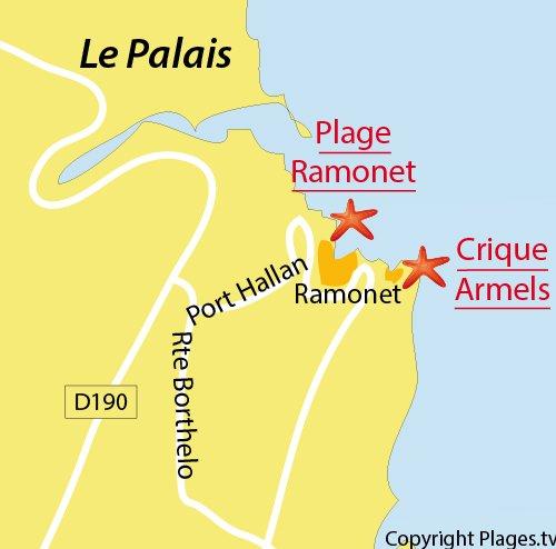 Carte de la plage du Ramonet à Belle Ile