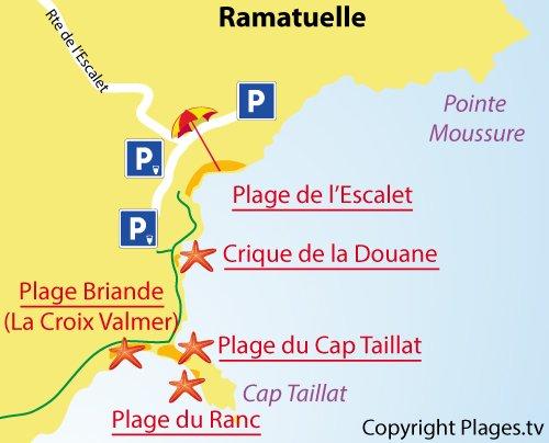 carte de la plage du Ranc à Ramatuelle