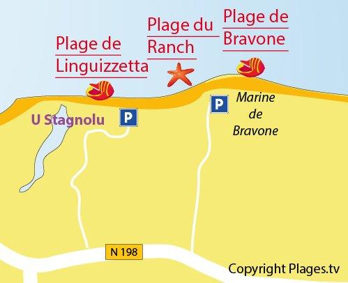 Map of Ranch Beach in Linguizzetta - Corsica