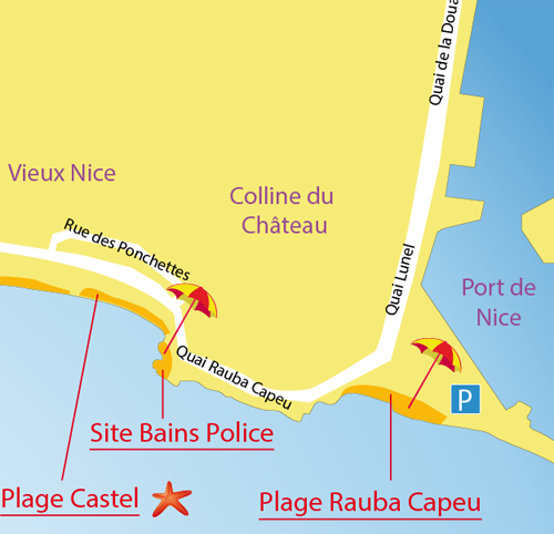 Carte plage Rauba Capeu à Nice près du port