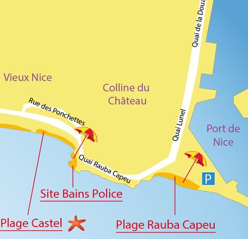 Map of the Rauba Capeu Beach in Nice