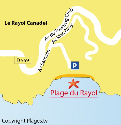 Map of the Rayol Beach in France