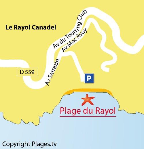 Carte de la plage du Rayol dans le Var