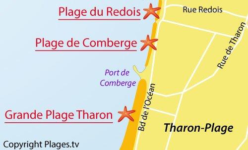 Carte de la plage du Redois - St Michel Chef Chef