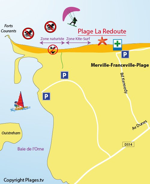 Map of La Redoute Beach in Merville-Franceville (14)