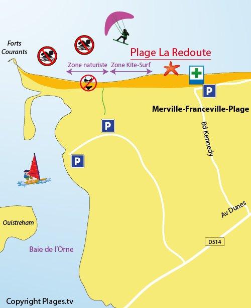 Plan de la plage de La Redoute à Merville-Franceville (14)