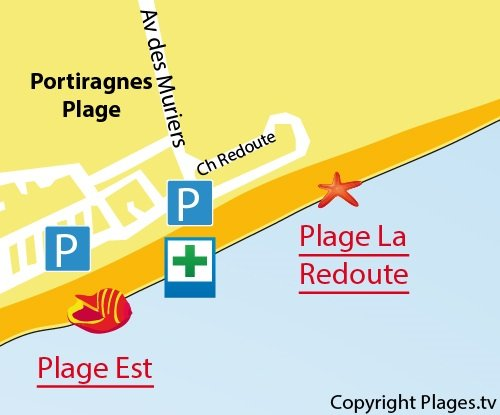 Mappa Spiaggia La Redoute a  Portiragnes