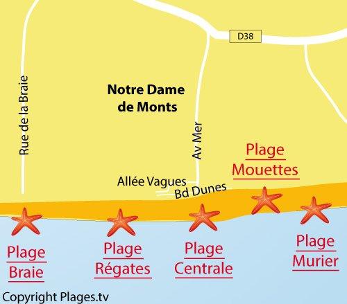 Carte de la plage des Régates à Notre Dame de Monts
