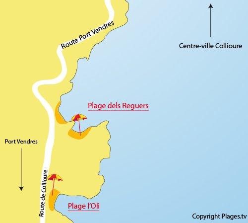 Carte de la crique de Reguers à Collioure