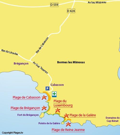 Carte d'accès à la plage Reine Jeanne à Bormes les Mimosas