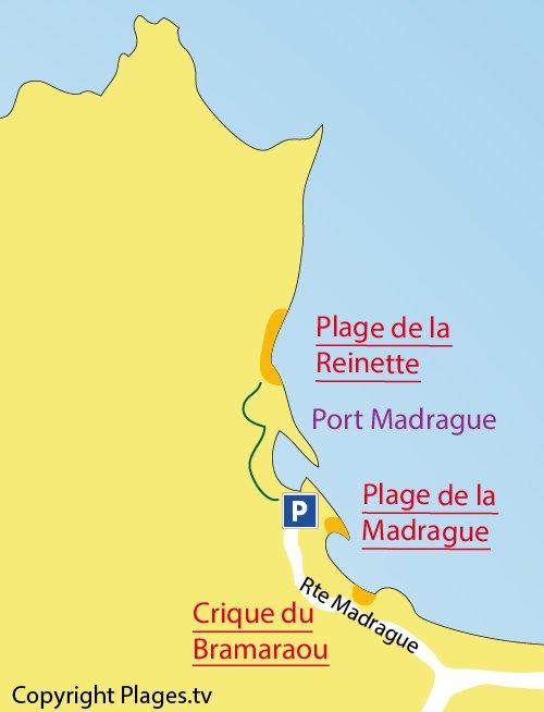 Plan de la plage de la Reinette à St Cyr sur Mer