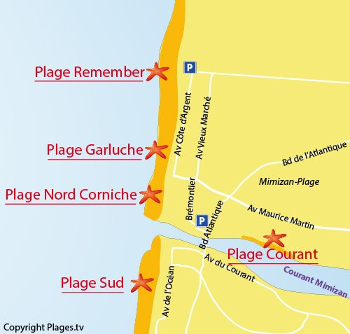 Plan de la plage Remember à Mimizan