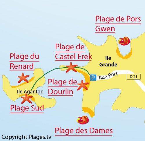 Carte de la plage du Renard sur l'ile d'Aganton - Bretagne