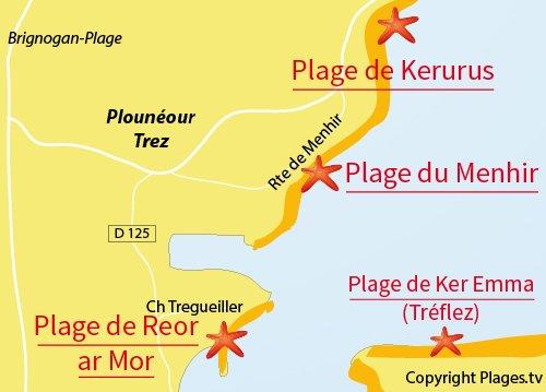 Carte de la plage de la baie du Goulven - Bretagne