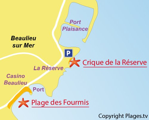 Carte de la plage de la Réserve à Beaulieu sur Mer