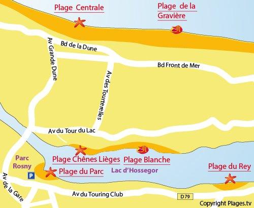 Map of Rey Beach in Hossegor Lake