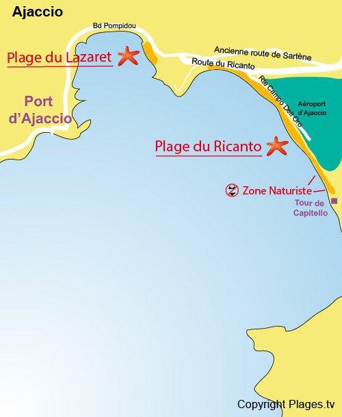 Map of Ricanto and Tahiti Beach in Ajaccio
