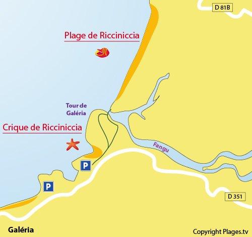 Carte de la plage de Ricciniccia en Corse (Galéria)