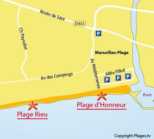 Map of Rieu Beach in Marseillan