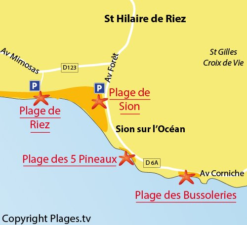 Map of Riez Beach in Saint Hilaire de Riez - France