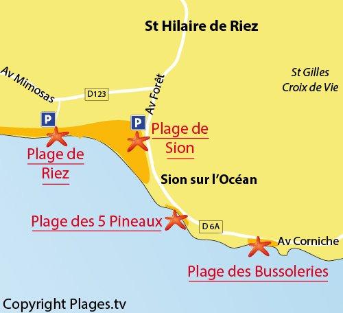 Map of Riez Beach in Saint Hilaire de Riez - France
