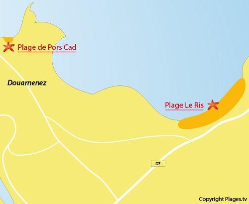 Carte de la plage du Ris à Douarnenez