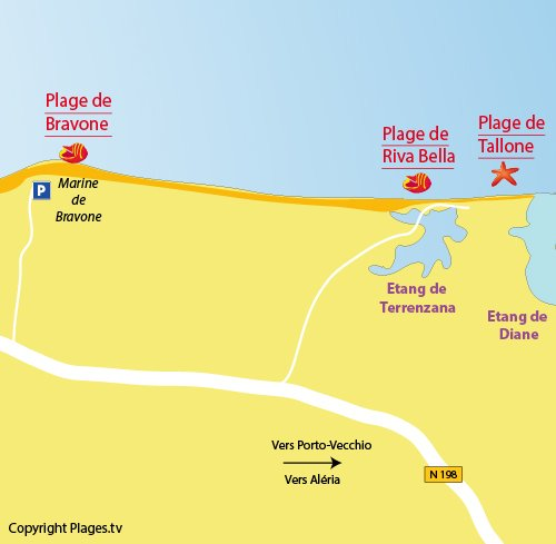 Map of Riva Bella beach in Linguizzetta - Corsica