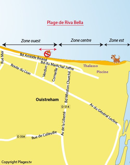 Map of Riva Bella beach in Ouistreham
