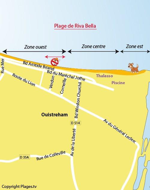Plan de la plage d'Ouistreham - Riva Bella