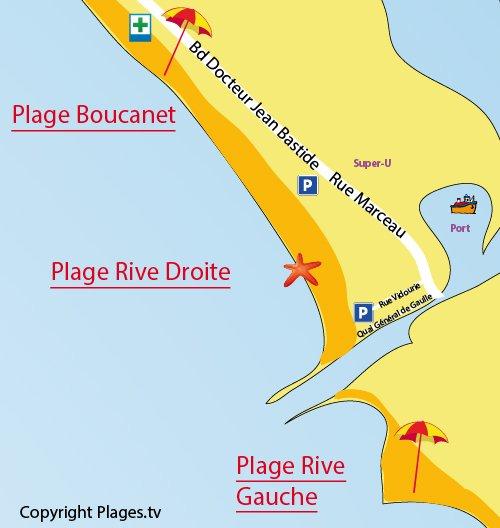 Plan de la plage rive droite au Grau du Roi