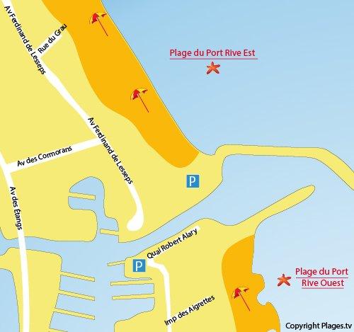 Carte de la plage sur la rive est de Frontignan