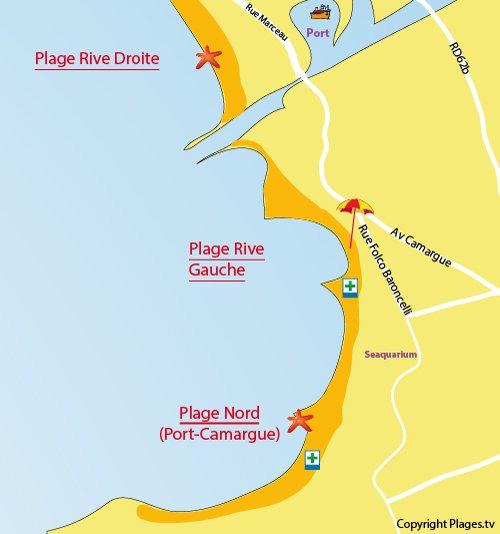 Mappa della Spiaggia Rive Gauche del Grau du Roi