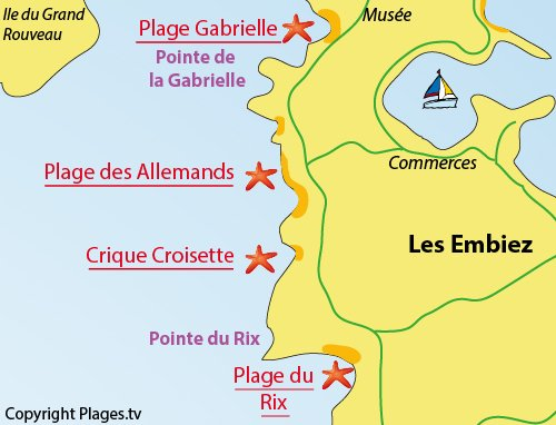 Plan de la plage du Rix sur l'ile des Embiez