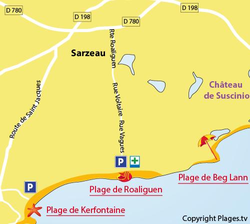 Carte de la plage de Roaliguen à Sarzeau